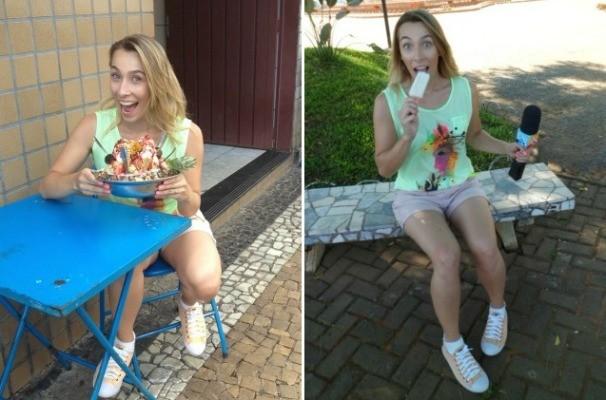 Para refrescar o calor de Votuporanga, a equipe do Revista não abriu mão do tradicional sorvete da cidade (Foto: Gabriela Cardoso/TV TEM)