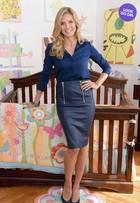 Look do dia: Heidi Klum usa conjunto azul em evento em Nova York