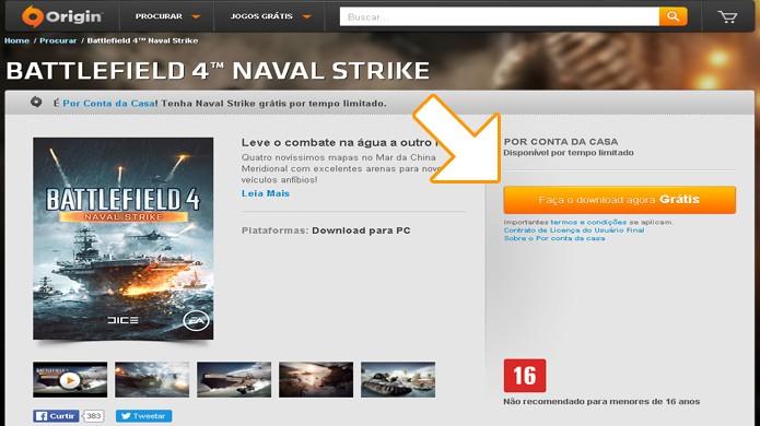 Para baixar o DLC de Battlefield 4: Naval Strike é necessário usar o cliente Origin da loja digital da Electronic Arts (Foto: Reprodução/Rafael Monteiro)
