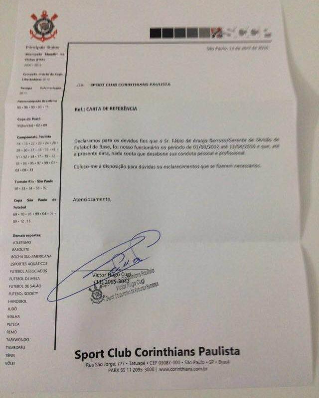 Carta Fábio Barrozo referência Corinthians (Foto: Arquivo pessoal)