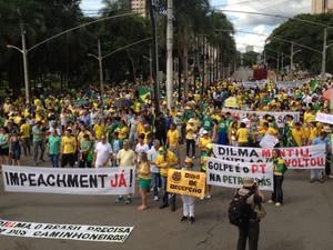 Manifestantes protestam na Praça Tamandaré, no Setor Oeste, em Goiânia (Foto: Sílvio Túlio/G1)