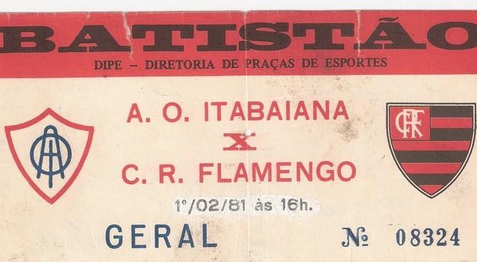 Ingresso, Itabaiana x Flamengo (Foto: Arquivo/Matheus Lima)