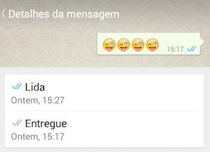 Mensagem lida no Whatsapp (Foto: Reprodução)