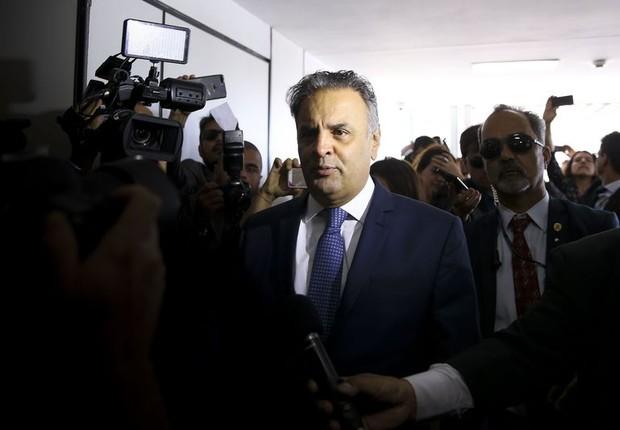 Aécio Neves retoma as atividades no Senado após 46 dias afastado (Foto: Marcelo Camargo/Agência Brasil)