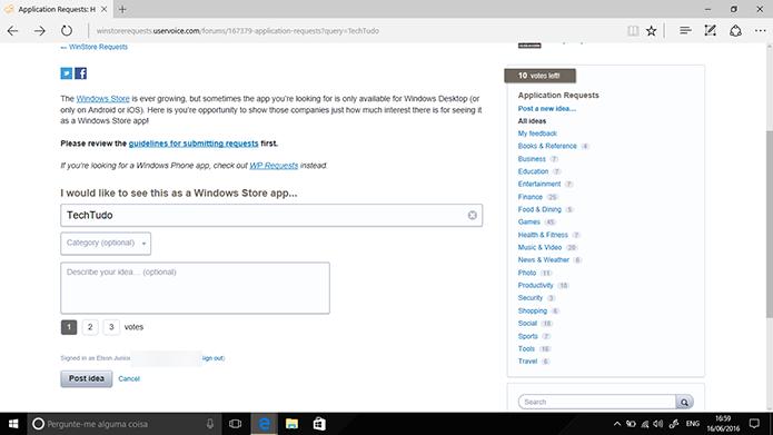 Usuário deve digitar nome do app que deseja solicitar para o Windows 10 (Foto: Reprodução/Elson de Souza)