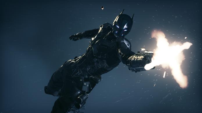 Arkham Knight utiliza armas de fogo no combate contra Batman (Foto: Divulgação)