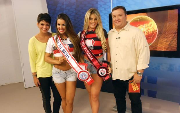 Hellen e Carol, musas de Vitória e Bahia, no Globo Esporte Bahia (Foto: Tamires Fukutani)
