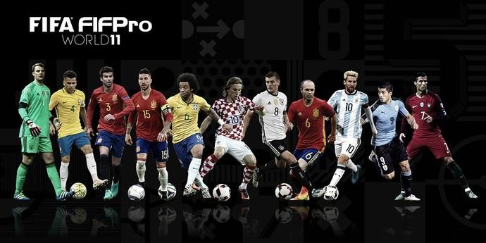 Seleção do ano da Fifa em 2016 com as camisas de seus respectivos países (Foto: Reprodução)
