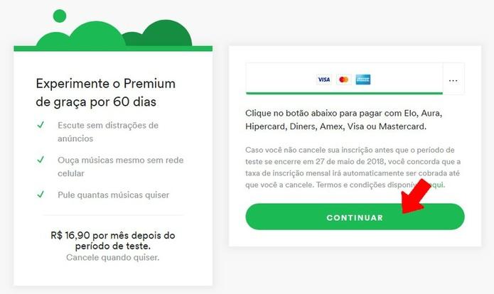 Confirme que deseja um plano Premium no site do Spotify (Foto: Reprodução/Rodrigo Fernandes)