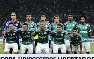 Palmeiras posado contra o Nacional, na Libertadores (Foto: Marcos Ribolli)