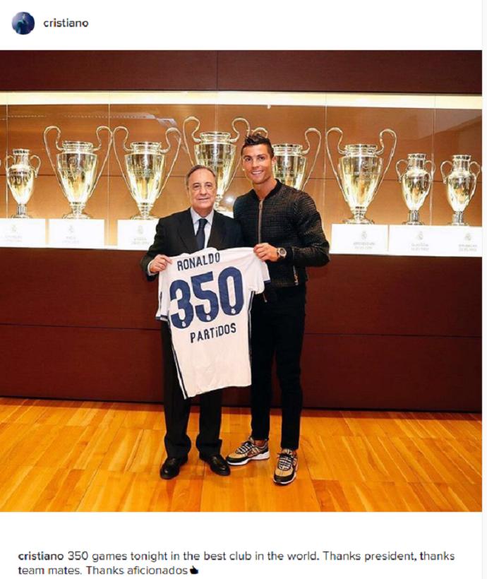 Cristiano Ronaldo 350 jogos (Foto: Reprodução / Instagram)