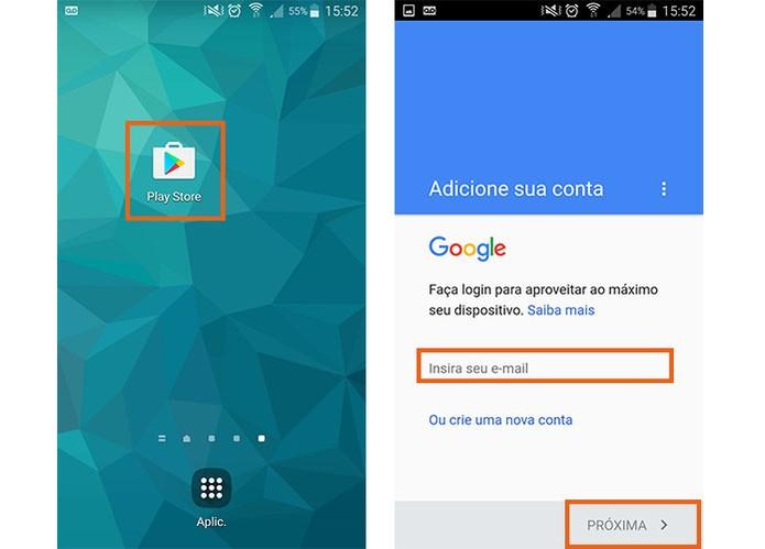 Abra o Google Play Store no celular e adicione sua conta Google (Foto: Reprodução/Barbara Mannara)