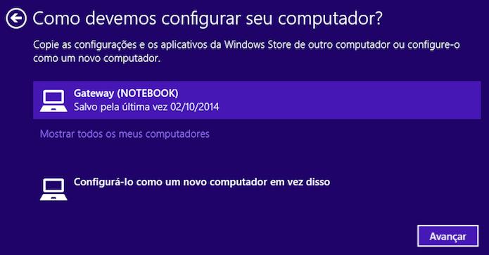 Configurando sincronização do Windows 8