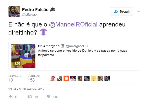 Pedro brinca ao ver Manoel usando vestido no Gran Hermano VIP (Foto: Reprodução/Twitter)