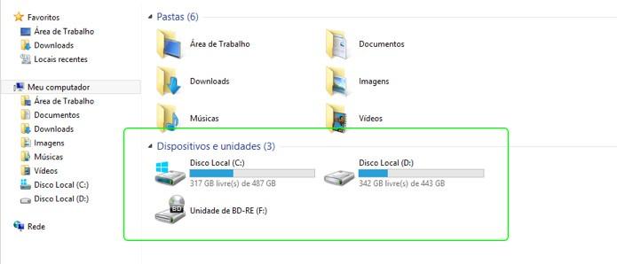 Um disco SSD sem formatação não aparece na lista de unidades, mesmo quando instalado corretamente (Foto: Reprodução/Adriano Hamaguchi)