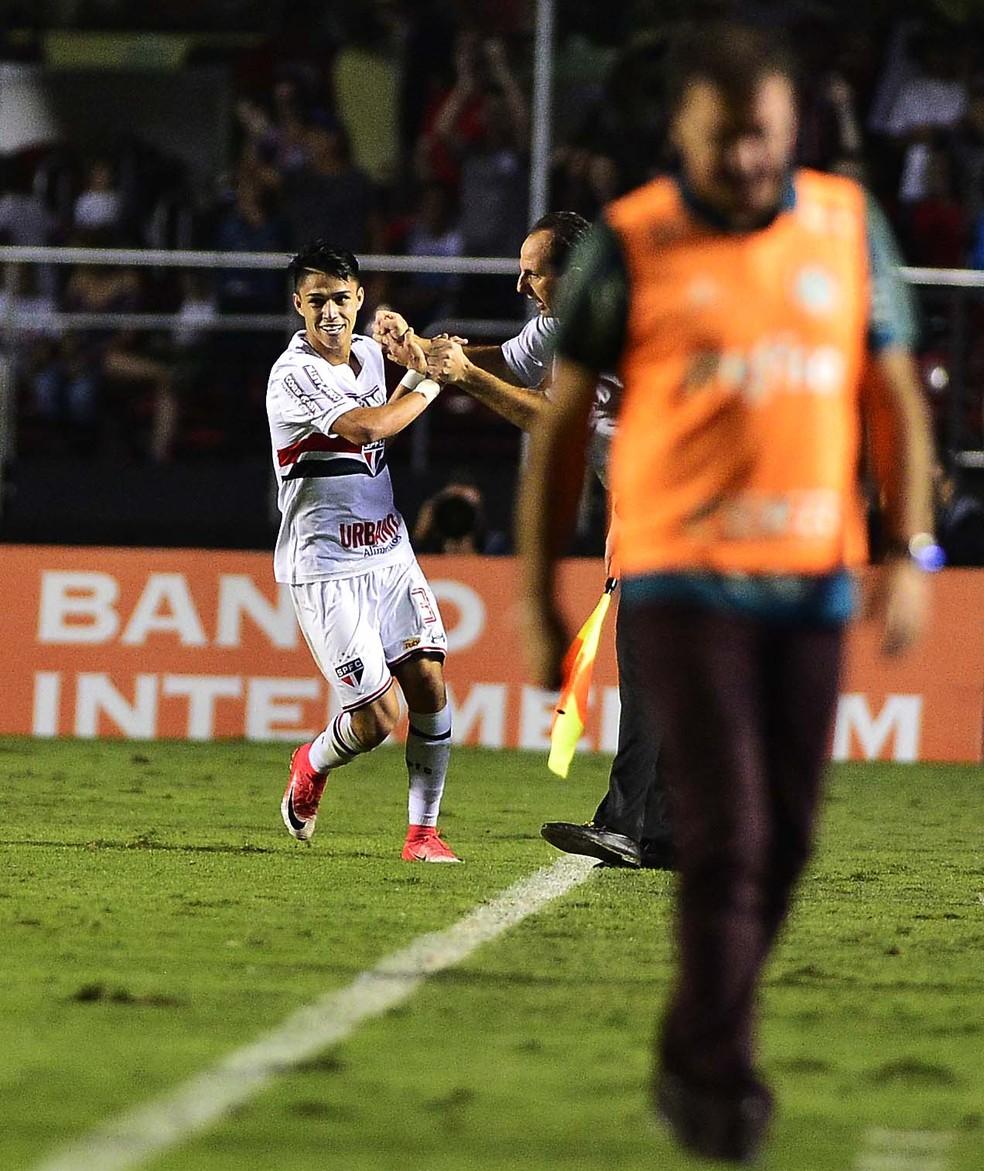 Luiz Araújo cumprimenta Ceni na comemoração do gol contra o Palmeiras (Foto: Marcos Ribolli)