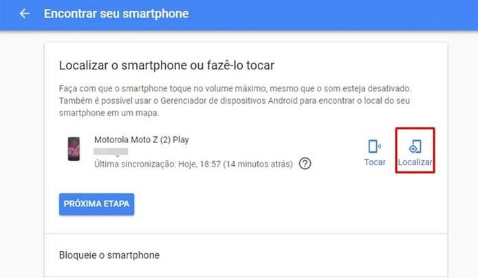 """Clique na opção """"Localizar"""" disponível no serviço do Google (Foto: Reprodução/Taysa Coelho)"""