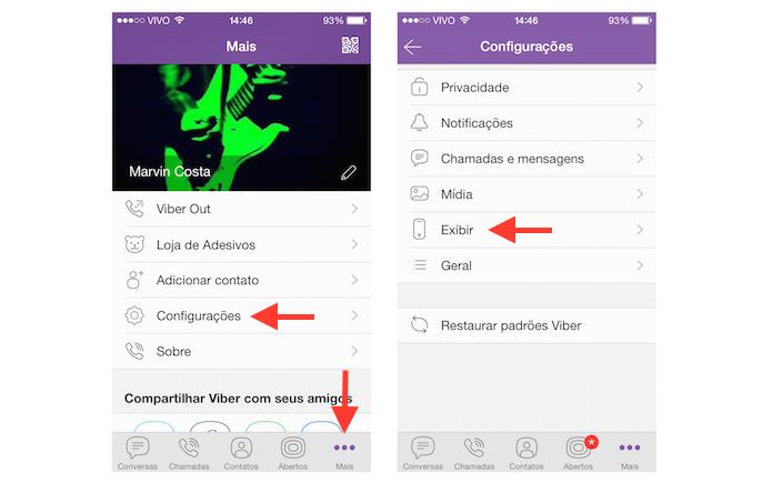 Acessando as configurações de exibição do Viber (Foto: Reprodução/Marvin Costa)