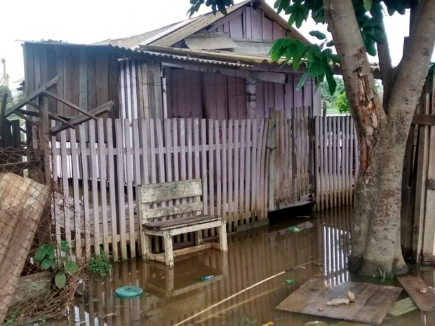 Casas do bairro Nacional começam a ser atingidas pelo Rio Madeira, em Porto Velho (Foto: Jairo Barbosa/Arquivo Pessoal)