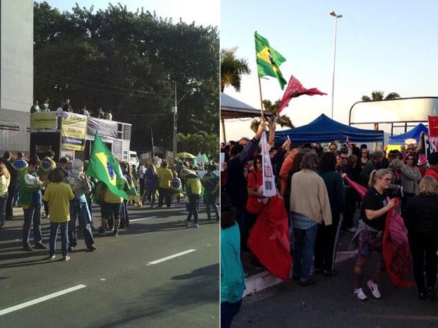 Florianópolis teve protestos contra Dilma e contra Temer neste domingo (Foto: Ricardo Von Dorff/RBS TV e Nicolas Quadro/CBN Diário)