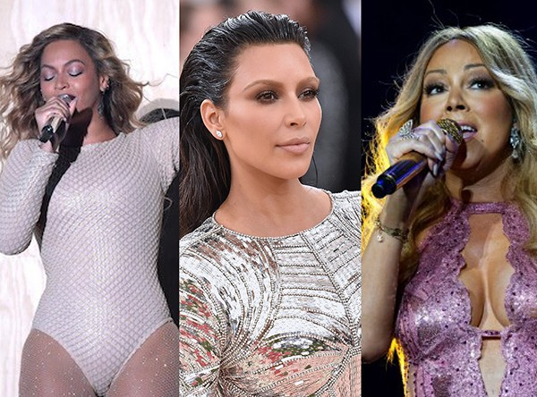 Beyoncé, Kim Kardashian e Mariah Carey (Foto: Getty Images)