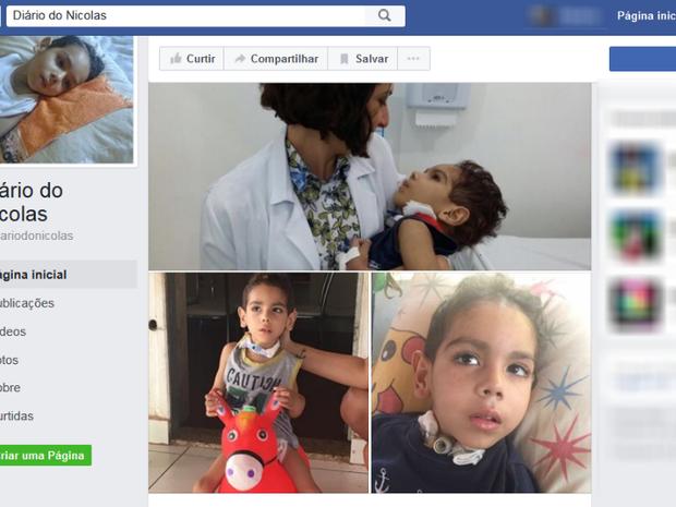 Página no Facebook conta o dia a dia de Nicolas (Foto: Reprodução/Facebook)