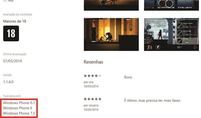 Versão web da Windows Phone Store agora mostra compatibilidade com Windows Phone 8.1 (Foto: Reprodução/Windows Phone Store)