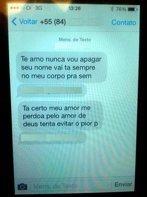 Segundo Fabiene, mensagens foram enviadas pelo ex-companheiro que é procurado pela polícia (Foto: Anderson Barbosa/G1)