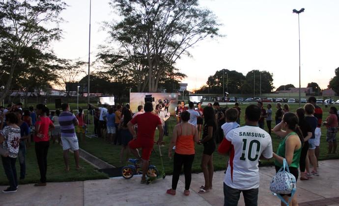 Divulgação da nova novela aconteceu no Parque da Cidadania  (Foto: Rede Clube)