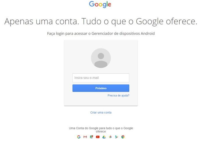 Entre na sua conta do Google usada no celular perdido (Foto: Reprodução/Caio Bersot)
