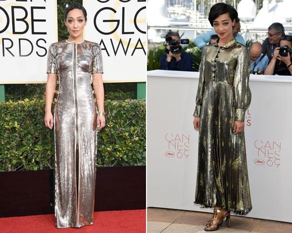 À esquerda, Ruth Negga veste um longo Louis Vuitton exclusivo (Foto: Getty Images)