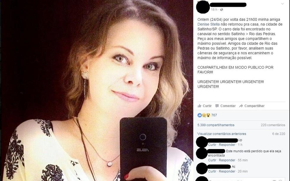 Mulher de 31 anos desaparecida em Saltinho mobilizou amigos nas redes sociais (Foto: Reprodução/Facebook)