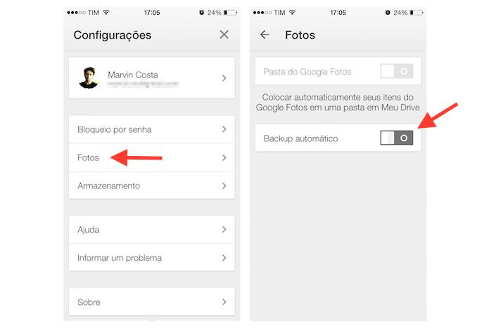 Ativando o backup automático de fotos do iPhone no Google Drive (Foto: Reprodução/Marvin Costa)