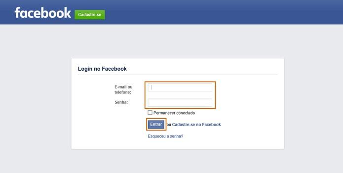 Faça o login no Facebook com e-mail e senha para entrar (Foto: Reprodução/Barbara Mannara)