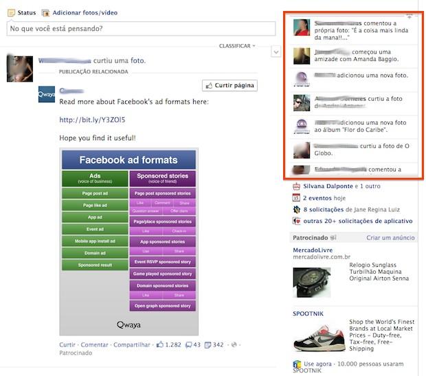 O 'feed de notícias' anterior do Facebook. (Foto: Reprodução)