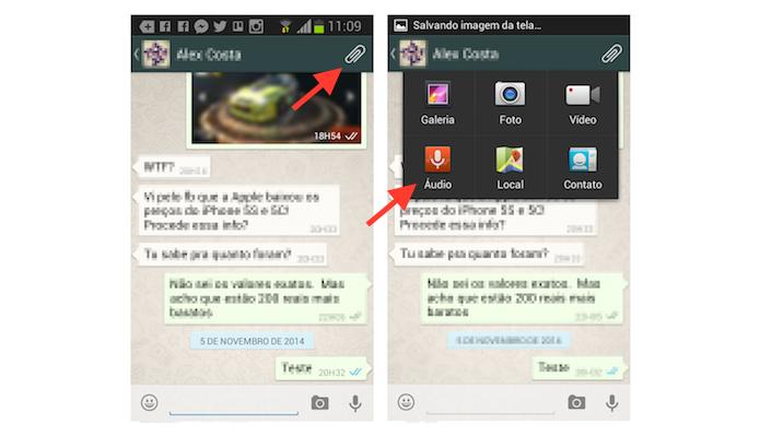 Acessando a ferramenta de envio de áudio do WhatsApp para Android (Foto: Reprodução/Marvin Costa)