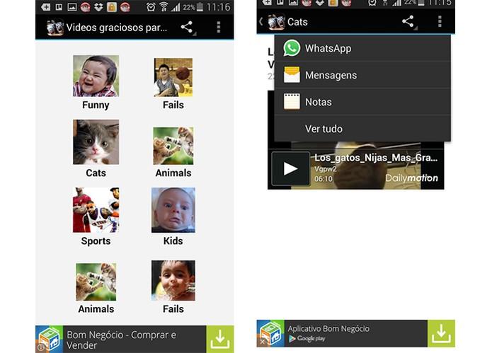 Escolha as mais diferentes categorias com o app WhatsApp Vídeos Engraçados (Foto: Reprodução/Barbara Mannara)