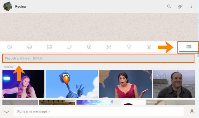Abra o item de GIF no WhatsApp Web e faça sua pesquisa (Foto: Reprodução/Barbara Mannara)