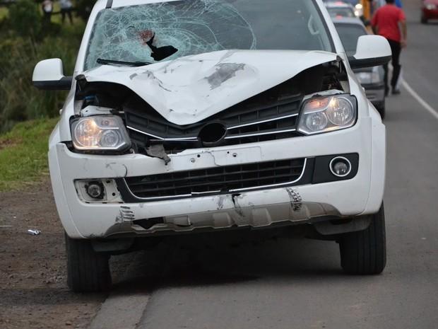 Ciclista morreu ao ser atingido por Amarok, em Lages (Foto: Portal do Biguá/Divulgação)