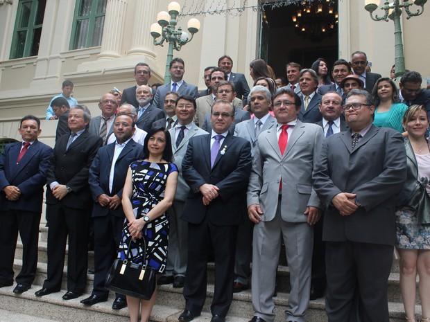 Secretários municipais de Teresina assinaram termo de posse nesta quarta-feira (2) (Foto: Ellyo Teixeira/G1)
