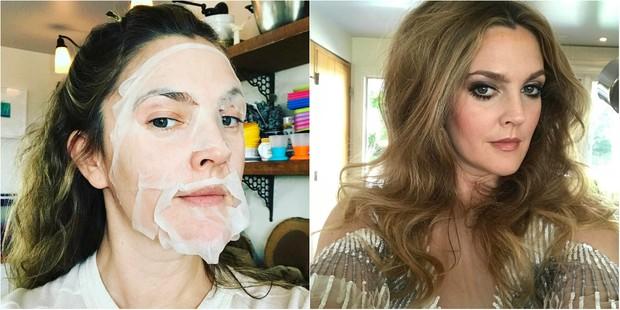 Antes e depois: Drew Barrymore capricha no visual para o Globo de Ouro (Foto: Reprodução do Instagram)