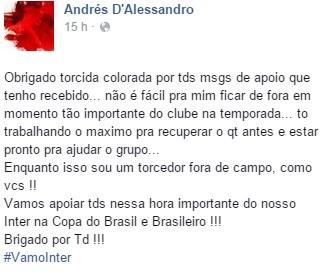 dalessandro inter mensagem internacional (Foto: Reprodução / Facebook)