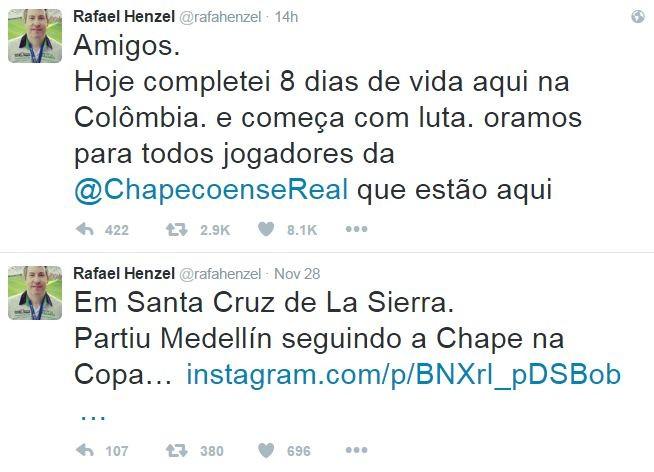 Henzel tuitou pela primeira vez desde o acidente; último havia sido antes de decolar (Foto: Reprodução/Twitter)