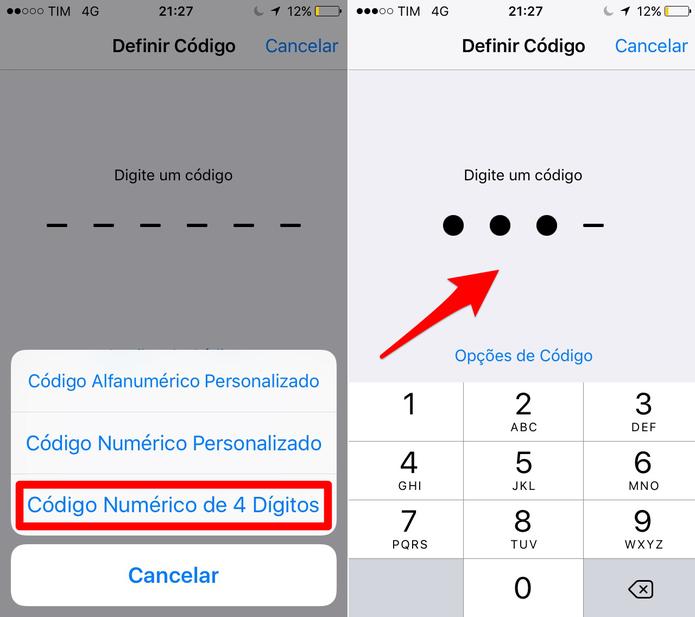 No iPhone escolha entre códigos personalizados ou de 4 dígitos (Foto: Reprodução/Lucas Mendes)