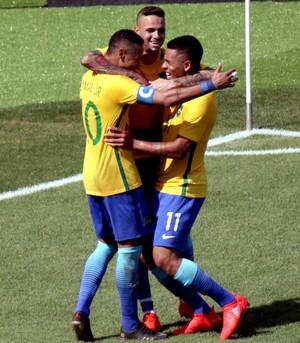 Luan Neymar Gabriel Jesus Brasil e Honduras olimpíada (Foto: Agência Reuters)