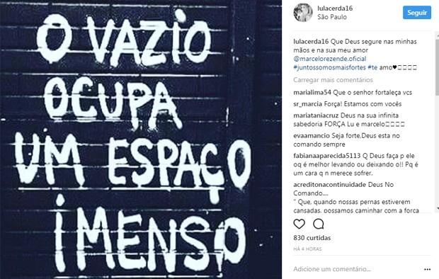 Publicação de Luciana Lacerda (Foto: Reprodução/Instagram)