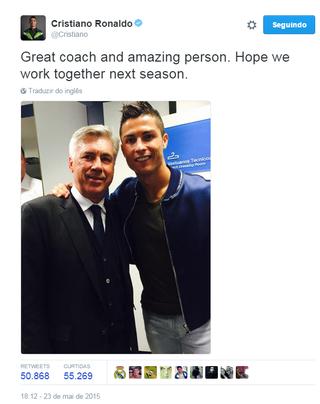 Ancelotti Cristiano Ronaldo Twitter (Foto: Reprodução / Twitter)