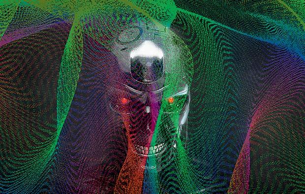 """REBELDES O diagrama  de uma rede capaz  de """"pensar"""" e um androide fictício da série O exterminador  do futuro. Essa tecnologia precisará de regras para evoluir de forma segura, segundo especialistas (Foto: Montagem sobre fotos de: J. C. Sprott/Artificial Neural Net Attractors e reprodução)"""