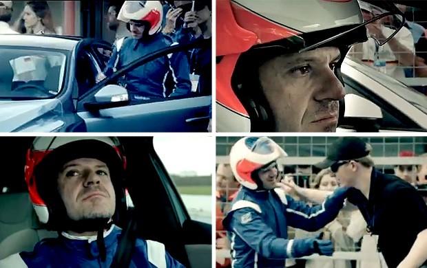 FRAME Barrichello comercial corrida (Foto: Reprodução)