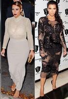 De volta à forma, Kim Kardashian aposta em looks justos e transparentes